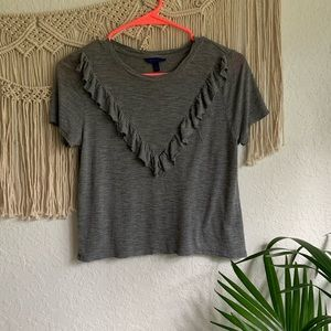 Aeropostale- grey shirt with a ruffle detail
